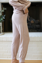 Taupe - Brushed Knit Joggers Side View