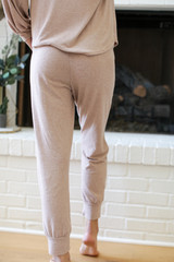 Brushed Knit Joggers in Taupe Back View