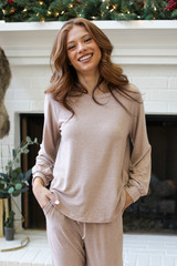 Taupe - Model wearing a Brushed Knit Top