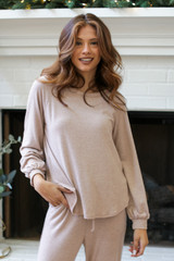 Taupe - Dress Up model wearing a Brushed Knit Top
