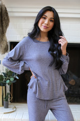 Brushed Knit Top in Blue Front View