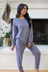 Model wearing a Brushed Knit Top in Blue with the matching joggers