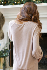 Brushed Knit Top in Taupe Back View