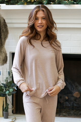 Brushed Knit Top in Taupe Front View