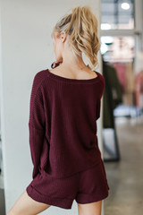 Waffle Knit Lounge Shorts in Burgundy Back View