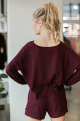 Waffle Knit Button Front Top in Burgundy Back View