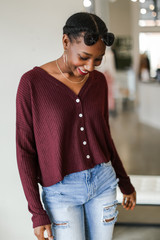 Waffle Knit Button Front Top in Burgundy Front View