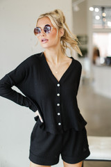 Black - Waffle Knit Button Front Top from Dress Up