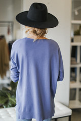 Soft Knit Sweater in Denim Back View