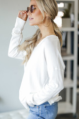 Soft Knit Sweater in Ivory Side View