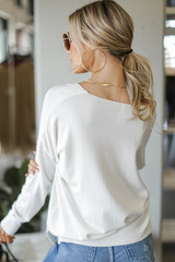 Soft Knit Sweater in Ivory Back View