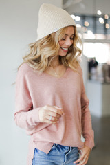 Soft Knit Sweater in Blush Front View