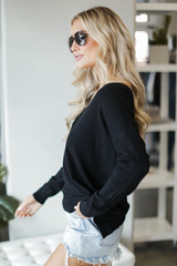 Soft Knit Sweater in Black Side View