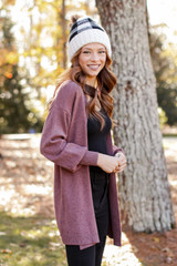 Luxe Knit Cardigan in Wine Side View