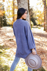 Luxe Knit Cardigan in Blue Back View