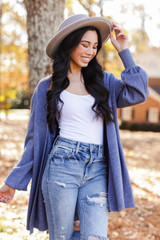 Luxe Knit Cardigan in Blue Side View