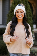 Taupe - Dress Up model wearing a Fuzzy Knit Hoodie with a beanie
