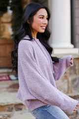 Fuzzy Knit Hoodie in Lavender Side View