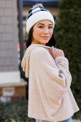 Fuzzy Knit Hoodie in Taupe Side View