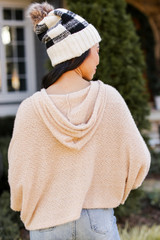 Fuzzy Knit Hoodie in Taupe Back View