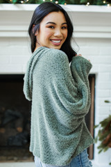 Fuzzy Knit Hoodie in Olive Side View