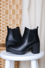 Close Up of Block Heel Ankle Booties