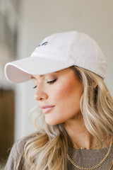 Side View of the Amen Cap in White