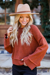 Rust - Oversized Cropped Sweater