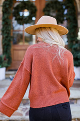 Oversized Cropped Sweater in Rust Back View
