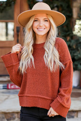 Oversized Cropped Sweater in Rust Front View