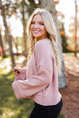 Oversized Cropped Sweater in Blush Side View