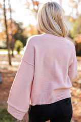 Oversized Cropped Sweater in Blush Back View
