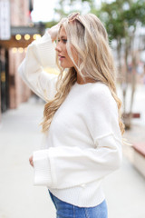 Oversized Cropped Sweater in Ivory Side View