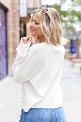 Oversized Cropped Sweater in Ivory Back View