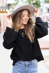 Black - Oversized Cropped Sweater Front View