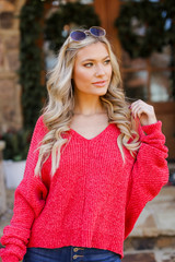 Red - Oversized Chenille Sweater