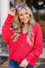 Red - Oversized Chenille Sweater from Dress Up