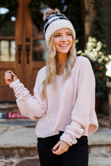 Blush - Dress Up model wearing an Oversized Chenille Sweater with a beanie