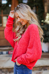 Oversized Chenille Sweater in Red Side View