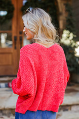 Oversized Chenille Sweater in Red Back View