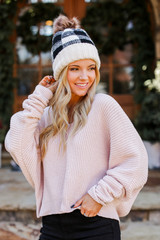 Oversized Chenille Sweater in Blush Side View