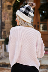 Oversized Chenille Sweater in Blush Back View