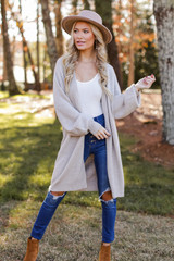 Taupe - Brushed Knit Longline Cardigan from Dress Up
