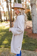 Brushed Knit Longline Cardigan Side View
