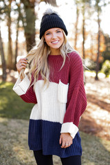 Navy - Oversized Color Block Sweater