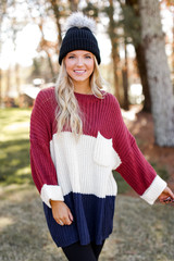 Navy - Oversized Color Block Sweater from Dress Up