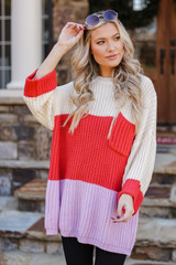 Lavender - Model wearing an Oversized Color Block Sweater