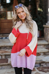 Dress Up model wearing an Oversized Color Block Sweater