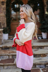 Oversized Color Block Sweater in Lavender Side View