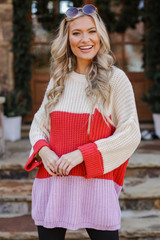 Lavender - Oversized Color Block Sweater Front View